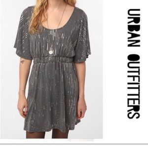 Sparkling grey party dress with pockets & sleeves